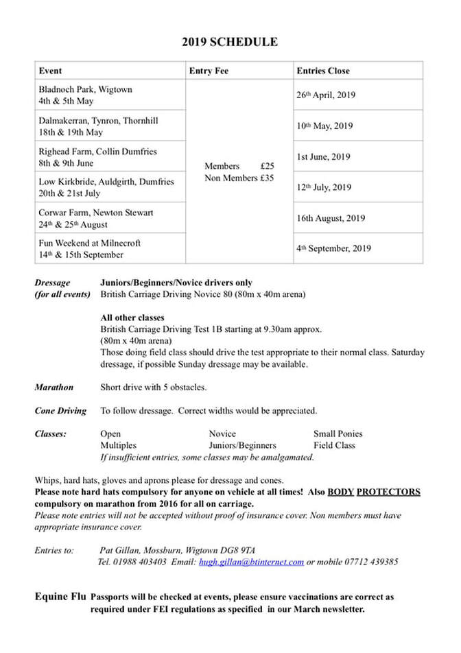 SOUTH WEST OF SCOTLAND HORSE DRIVING CLUB EVENTS DIARY